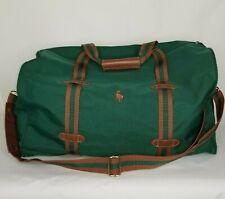 Polo Ralph Lauren Duffle Bag Green Brown Canvas Overnight Weekender Pony Logo