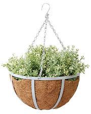 Blumenampel Hanging Basket Hängeampel 2er SET HELLGRAU mit Kette und Haken