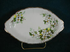"Royal Albert White Dogwood Brushed Gold Handled 8 1/4"" Oval Relish Dish / Tray"