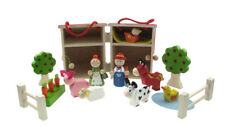 Wooden Toy Collection Preschool Line Farm Barn Set Pretend Play Gift