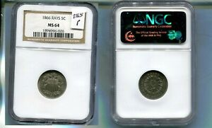 1866 WITH RAYS SHIELD NICKEL TYPE COIN NGC MS64 8965P