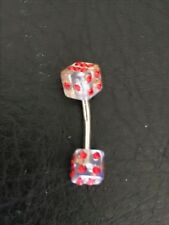 Pygmy Red Diamond dice Belly Button Ring - 925 Sterling Silver Bar - Brand New!