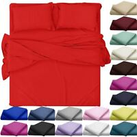 PLAIN FITTED BED SHEETS EGYPTIAN COTTON POLYESTER DYED MATTRESS COVER BEDDINGS