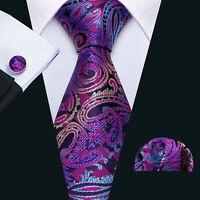 USA Classic Purple Paisley Mens Tie Set Jacquard Woven Silk Necktie Cufflinks
