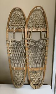 """Snowshoes-Vtg Bear Paw Wood Leather-Rustic-Lodge Decoration-35""""Long Snow Shoes"""