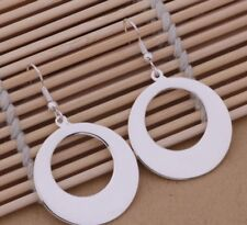 925 Sterling Silver Round Hoop Drop Dangle Earrings Women's Jewelry Pierced