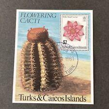 TURKS & CAICOS IS, SCOTT # 475, S/S 1981 FLOWERING CACTI FDI ISSUE USED