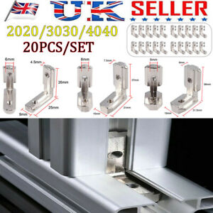 20X T Slot Aluminum Profile L-Shape Brackets 90° Inner Connector 2020/3030/4040