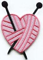 Pink knitting heart crochet diy embroidered applique iron-on patch S-1593