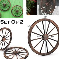 Wagon Wheel Antique Style Wooden Wheels Set Of 2 Vintage Patio Garden Decor 30""