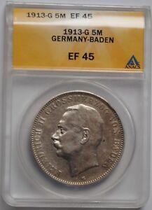 """Baden 5 mark 1913, ANACS EF45, """"Grand Duke Friedrich II (1907 - 1918)"""""""