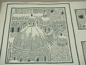 "Vintage 1978 JACK LENOR LARSEN Fabric: ROMA PILLOW, One Repeat, 35"" x 54"""