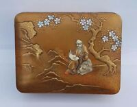 Antique Japanese Box Shibayama Gold Maki-e Lacquer Meiji Edo 19c 19th