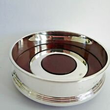 UNSOLD STOCK SILVER HM 2008 WINE BOTTLE HOLDER COASTER INSET SILVER RING CARRS