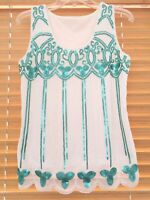 Womens Sz XS S White Green Beaded Embroidered Sleeveless Stretch Mesh Top Blouse