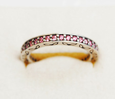 Genuine Pandora Thin Ethernity Ring, Salmon, Stack-able - 190618CZS Sz 56
