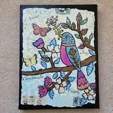 Folk Art ORIGINAL Bird Tree Flower Butterfly Berry Branch Leaf Whimsical Love