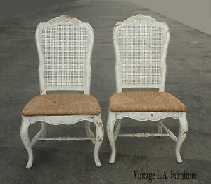Pair of Two French Country White Cane & Rush Shabby Chic Side Chairs Asis