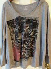 Lane Bryant Heather Gray Pullover women's Size 22/24 Long sleeve with hood  A13