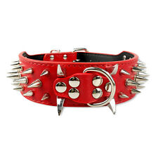 Spiked Studded Rivet PU Leather Dog Collars Dog Training Collar for Pitbull S-XL