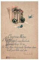 Christmas Wishes w Bluebirds 1924 Antique Postcard w/ 1c stamp Vintage