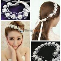 Flower Garland Floral Crystal Bridal Headband Hairband Wedding Hair Accessories