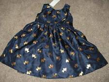 Gymboree Girls Navy Blue Holiday Gold Scottie Dress Size 4T 4 Toddler NWT NEW