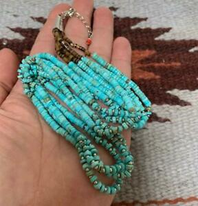 "Gorgeous  multi-strands genuine turquoise heishi necklace/23""(B217j-w1)"
