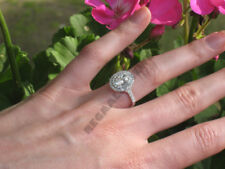 1.50 Ct D/VVS1 Diamond Oval Engagement Wedding Halo Ring in 14k White Gold Over
