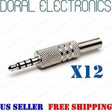 12X Silver 3.5mm 4 Pole Male Repair Headphone Plug Metal Audio Video 3.5 mm 1/8