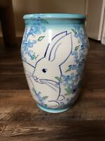 Signed Studio Pottery Blue Floral Rabbit Painted Tall Vase Handmade Wheel Thrown