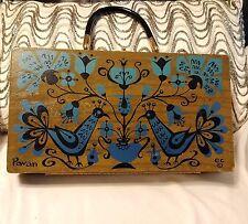 Classic Vintage Enid Collins Pavan Wood box Bag Purse Retro Mod Floral 1960s