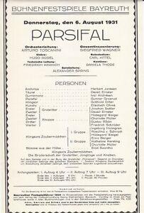 Opera Programme 1931 Bayreuth Festival Parsifal Arturo Toscanini Gunnar Graarud
