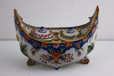 French Faience Inkwell of Boat Shape Hand Painted Signed Underglaze c1800's