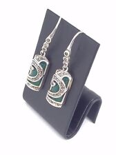 Green Agate with Marcasite Sterling Silver Earrings