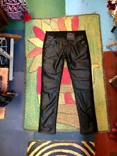 Black Pleather Jeans Pants Slacks Waist 32 In Goth Motorcycle M/ L