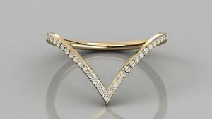 0.12ct Natural  Diamond V Shape Stackable Wedding Band 18ct Solid Gold