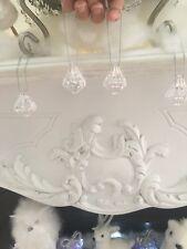Set 4 Shabby Crystal Prism Drop Christmas Tree Decoration Ornament Hamptons Chic