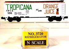 "N Model Power 3720 40ft Reefer Car Tropicana Orange Juice ""air pak"" TPIX #106"