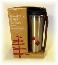STARBUCKS 2013 HOLIDAY STAINLESS TRAVEL MUG 2 VIA GIFT SET