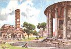 CARTOLINA - ROMA - TEMPIO DI VESTA - ILLUSTRATORE ALDO RAIMONDI - 1950