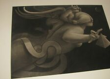 Original Charcoal Drawing Hand Signed by Michael Parkes Extremely Rare! Fantasy!