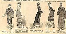 """PARIS COSTUMES EN FOURRURES MAGASIN  """"A LA VILLE DE BOMBAY"""" PUBLICITE 1880"""