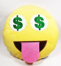 Top Trenz Emoji Almohada Dólar Ojos Amarillo Cojín, 35.6x35.6cm