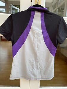 Ladies Golf Polo Shirt Calvin Klein Black, Grey And Purple Pattern Size 12