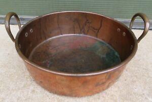 Antique Twin-Handled Copper Cooking Pot Pan (diam: 38.5cm)