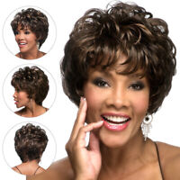 Women Synthetic Natural Short Pixie Wavy Ombre Blonde Brown Cosplay Hair Wigs AU