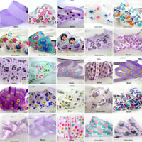 "25x1Yard Assorted Satin Grosgrain Ribbon Lot 3/8""--1.5"" Purple Theme Craft Bow-B"