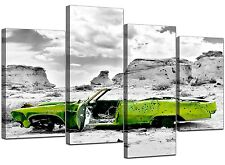 Large Abstract Lime Green Canvas Wall Art Pictures Set Prints XL 4143
