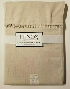 "Lenox French Perle Natural 60"" X 84"" Rectangle Tablecloth w/ Storage Bag - NEW"